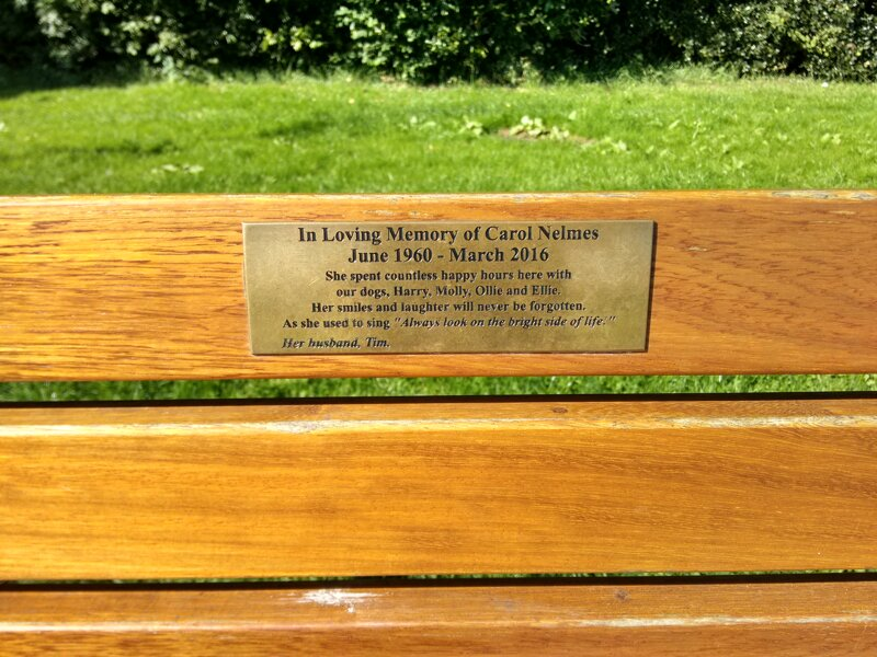 In Loving Memory of Carol Nelmes June 1960 - March 2016 She spent countless happy hours here with our dogs, Harry, Molly, Ollie and Ellie. Her smiles and laughter will never be forgotten. As she used to sing 'Always look on the bright side of life.' Her husband, Tim.